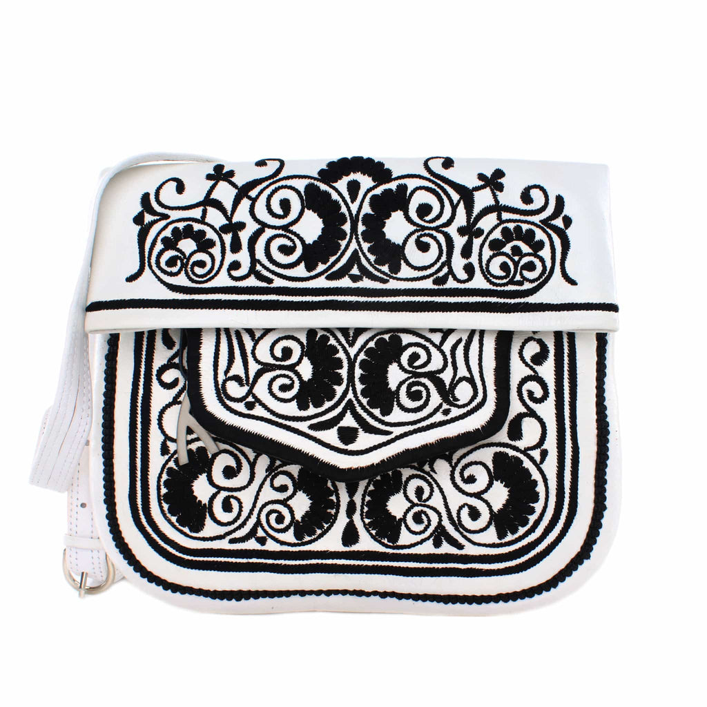 front view of white and black embroidered ABURY Leather Berber Shoulder Bag