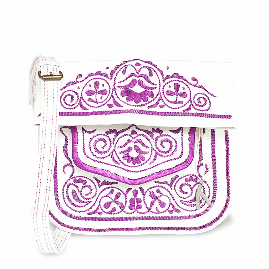 front view of white and lilac embroidered ABURY Leather Berber Shoulder Bag