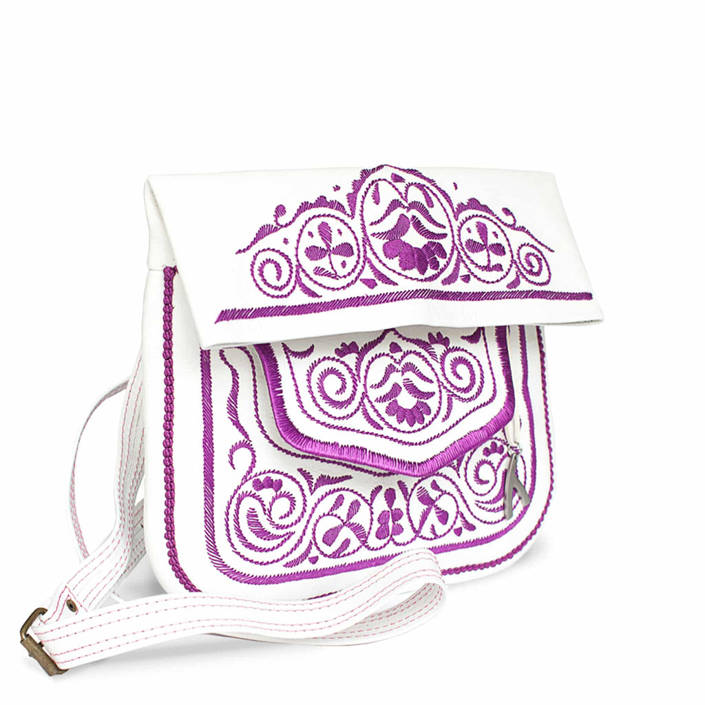 side view of white and lilac embroidered ABURY Leather Berber Shoulder Bag