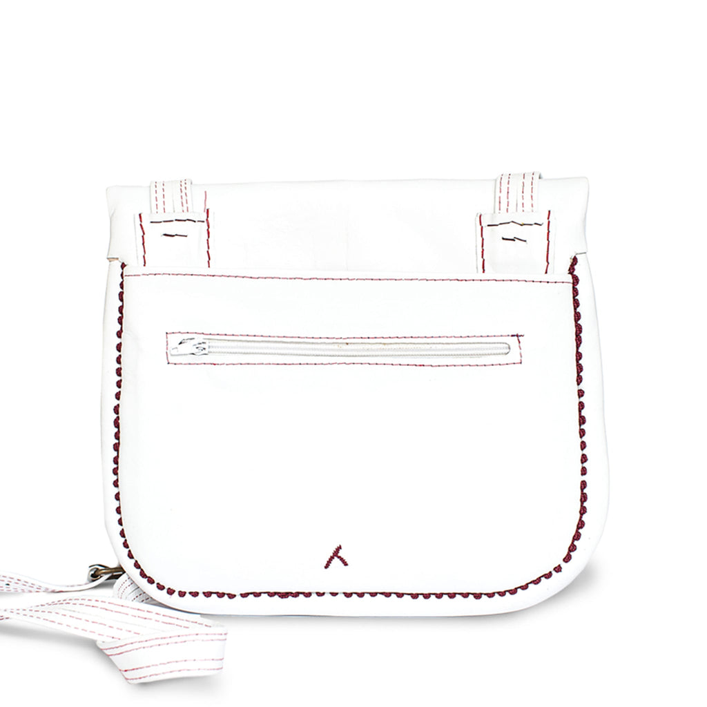 back view of white and lilac embroidered ABURY Leather Berber Shoulder Bag