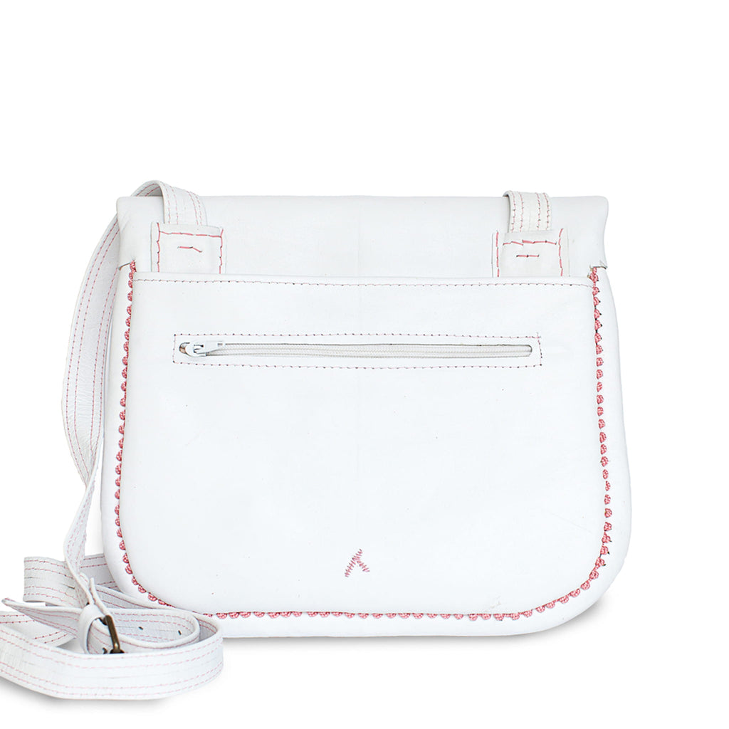 back view of white and rosé embroidered ABURY Leather Berber Shoulder Bag