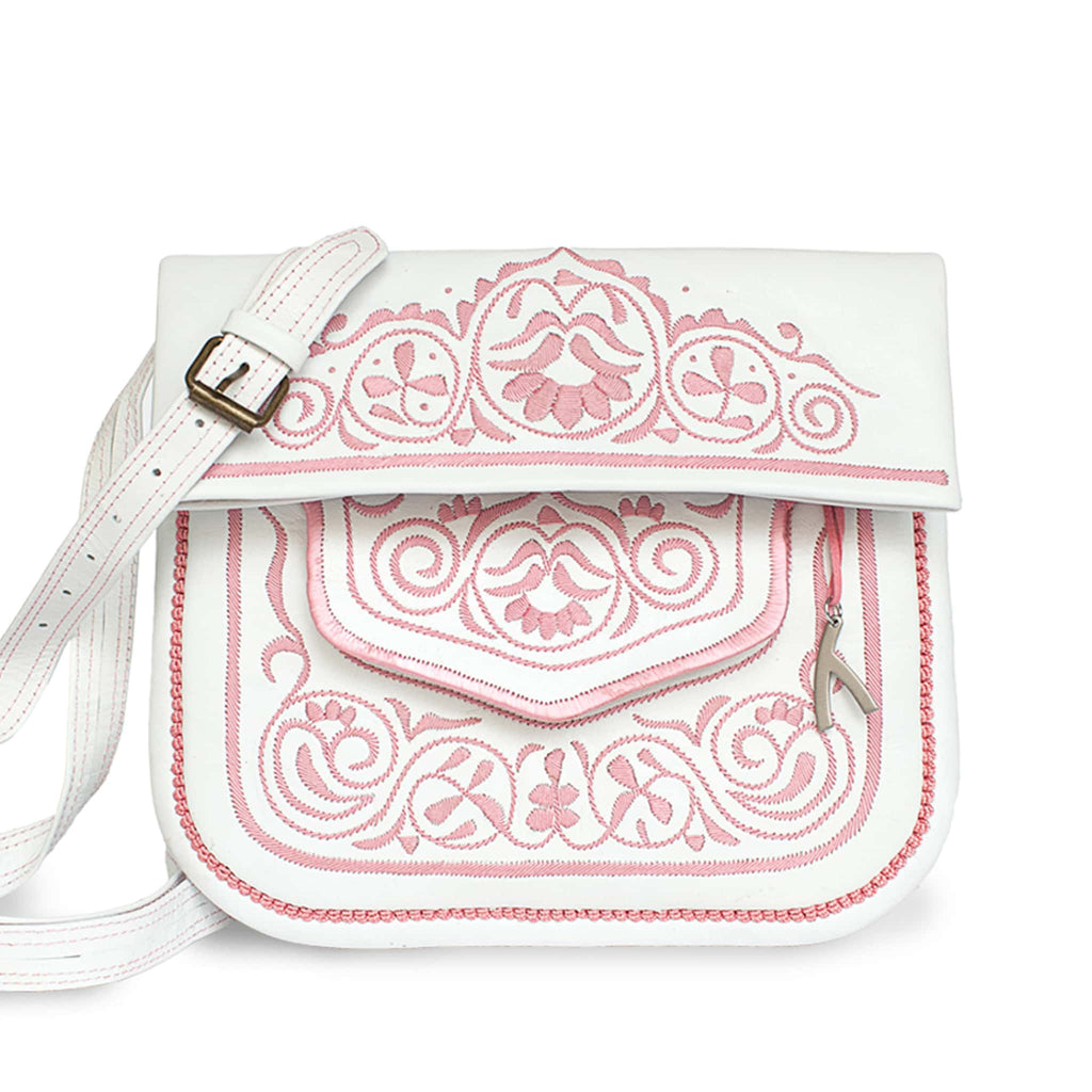 front view of white and rosé embroidered ABURY Leather Berber Shoulder Bag