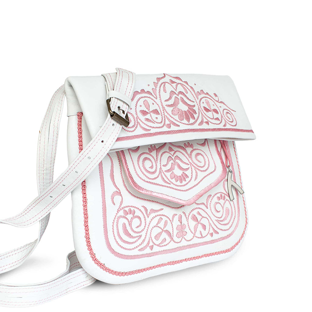 side view of white and rosé embroidered ABURY Leather Berber Shoulder Bag