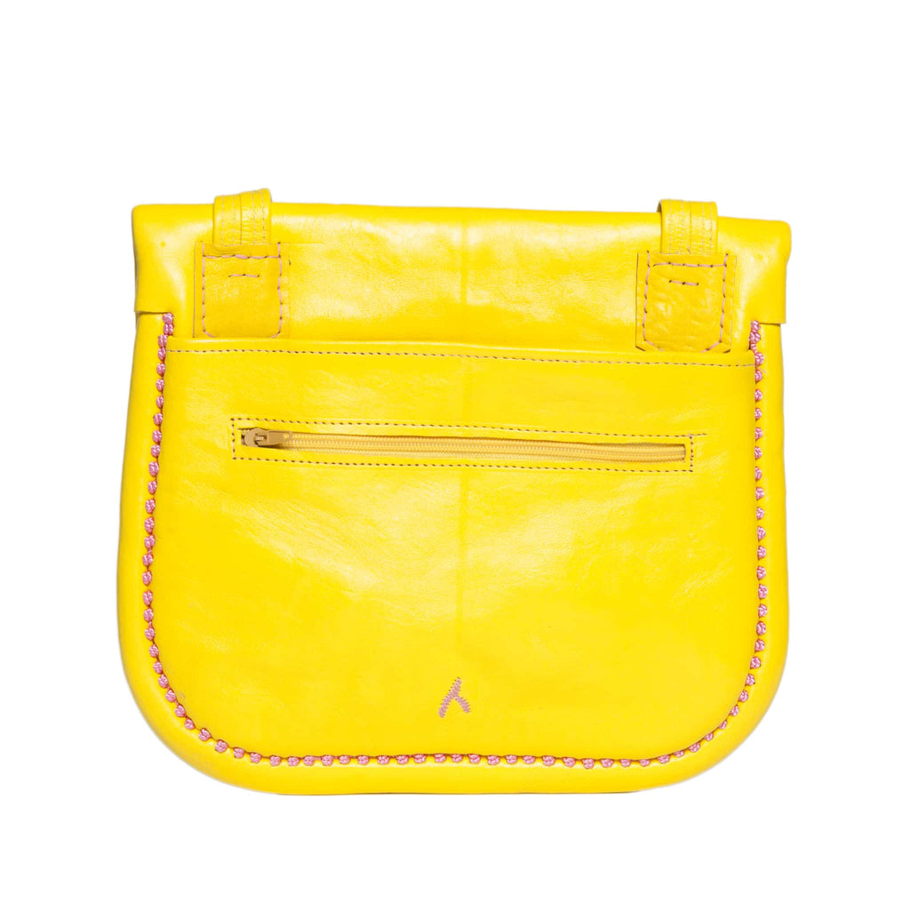 back view of handmade yellow and rosé embroidered ABURY Leather Berber Shoulder Bag