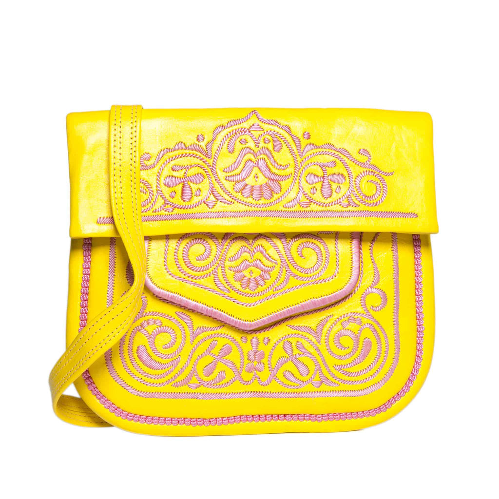 front view of yellow and rosé embroidered ABURY Leather Berber Shoulder Bag