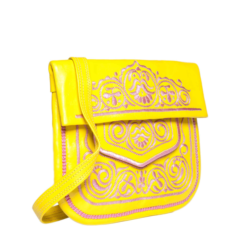 side view of yellow and rosé embroidered ABURY Leather Berber Shoulder Bag