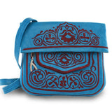 front view of blue and red embroidered ABURY Leather Berber Shoulder Bag