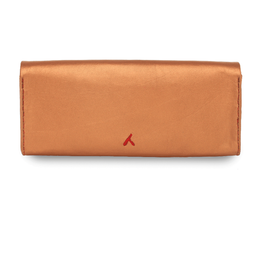 Bronze and Red Leather Clutch Bag packshot back