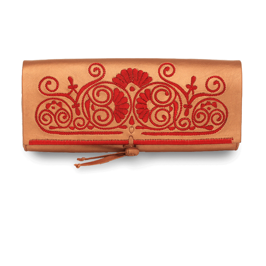 Bronze and Red Leather Clutch Bag packshot front