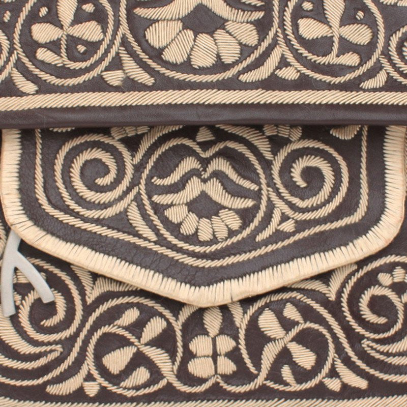 Brown and Beige Leather Berber Bag - Shoulder Bags - ABURY Collection