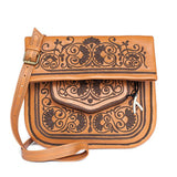 Camel and Chocolate Leather Berber Bag packshot front
