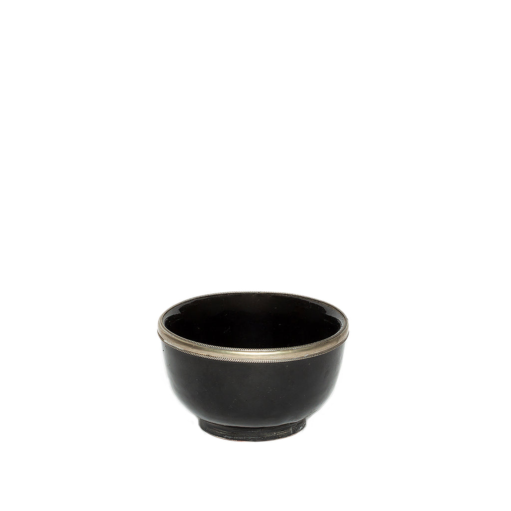 Medium Ceramic Bowl with Silver Edge in Black