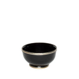 Large Ceramic Bowl with Silver Edge in Black
