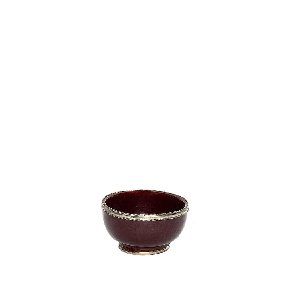 Small Ceramic Bowl with Silver Edge in Mauve