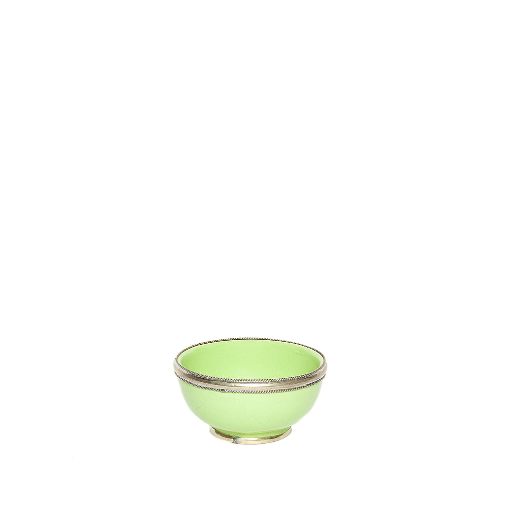 Small Ceramic Bowl with Silver Edge in Light Green