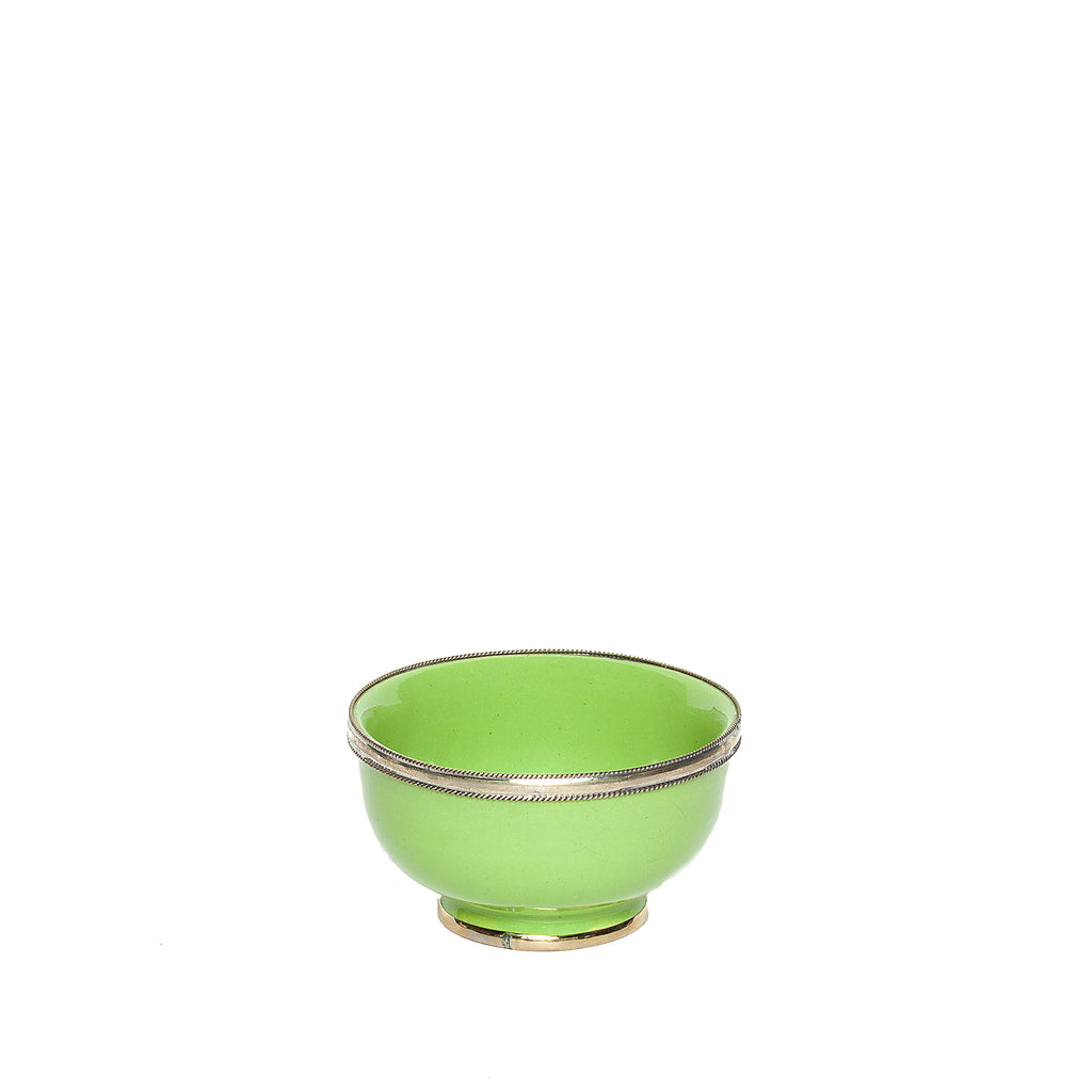 Medium Ceramic Bowl with Silver Edge in Light Green