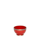 Small Ceramic Bowl with Silver Edge in Red