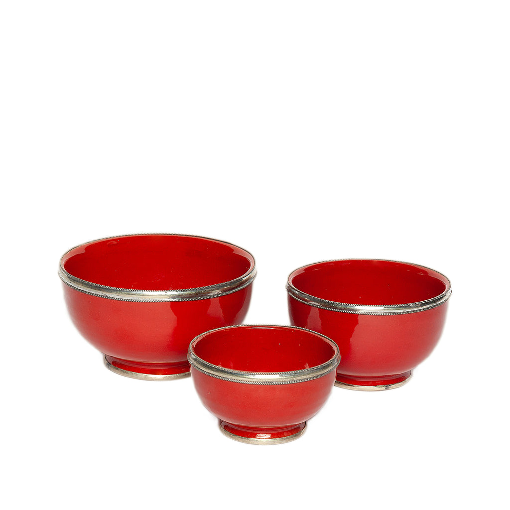 Medium Ceramic Bowl with Silver Edge in Red