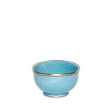 Large Ceramic Bowl with Silver Edge in Light Blue