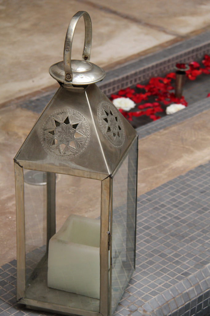 Large Lantern from White Wax with Metal Decoration
