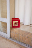 Large Lantern from Red Wax with Metal Decoration