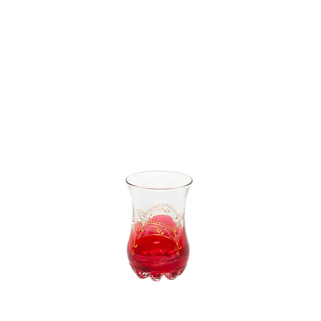 Set of 4 Tea Glasses with Oriental Decoration in Red