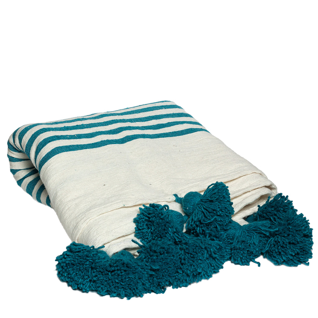 Wool Throw with Pompoms in Turquoise
