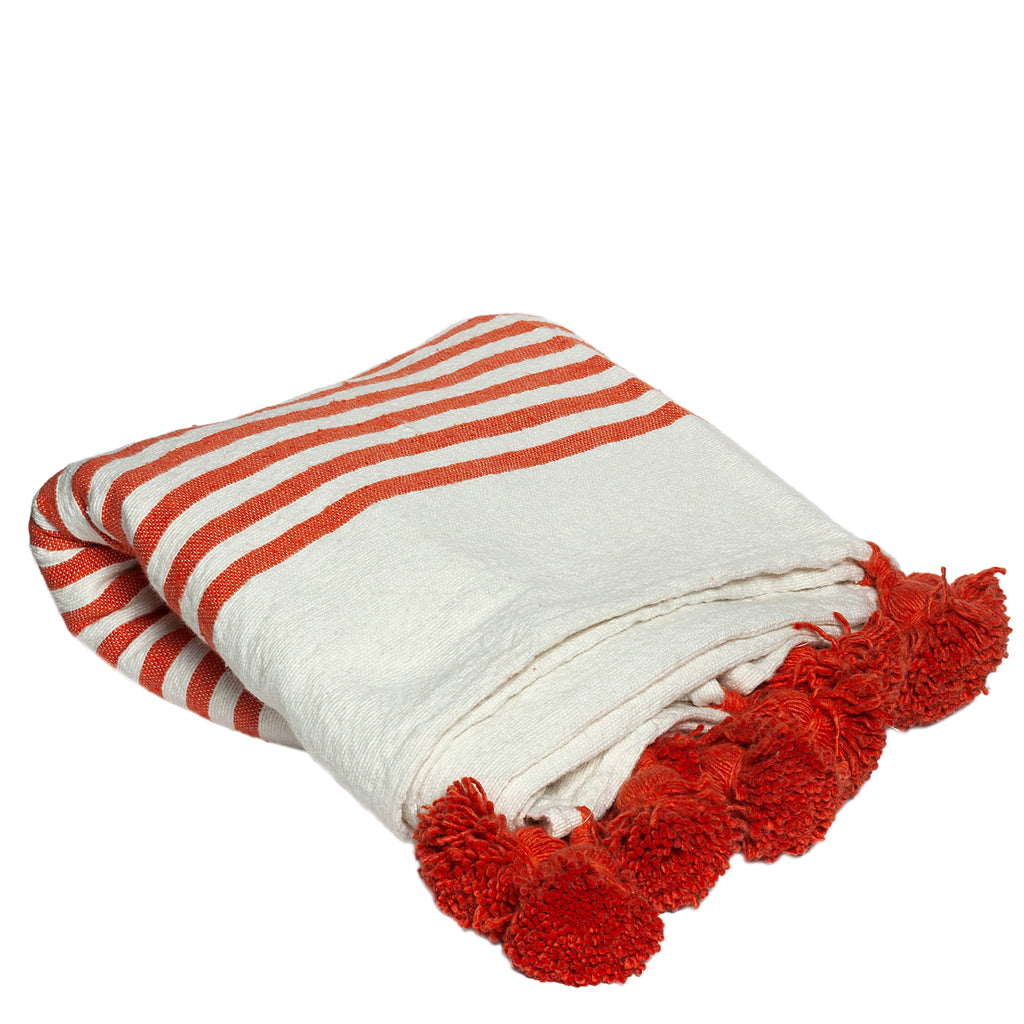 Wool Throw with Pompoms in Orange