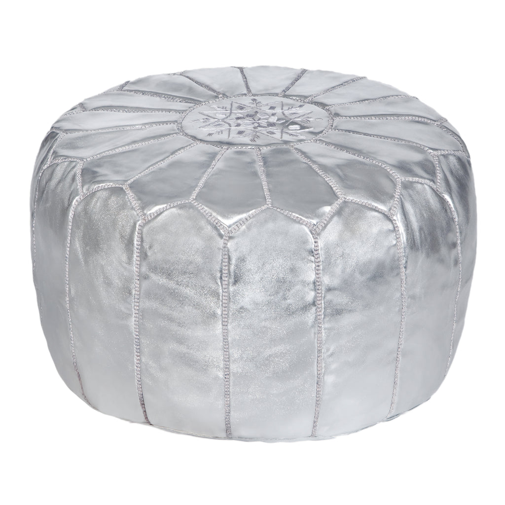 Embroidered Leather Pouf in Silver