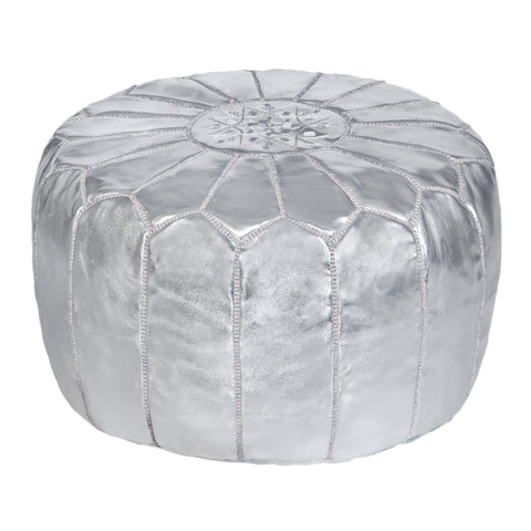 Embroidered Leather Pouf in White
