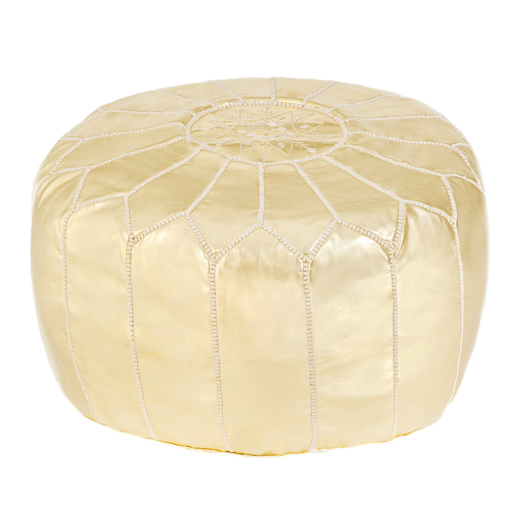 Embroidered Leather Pouf in Gold, Beige
