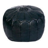 Embroidered Leather Pouf in Black