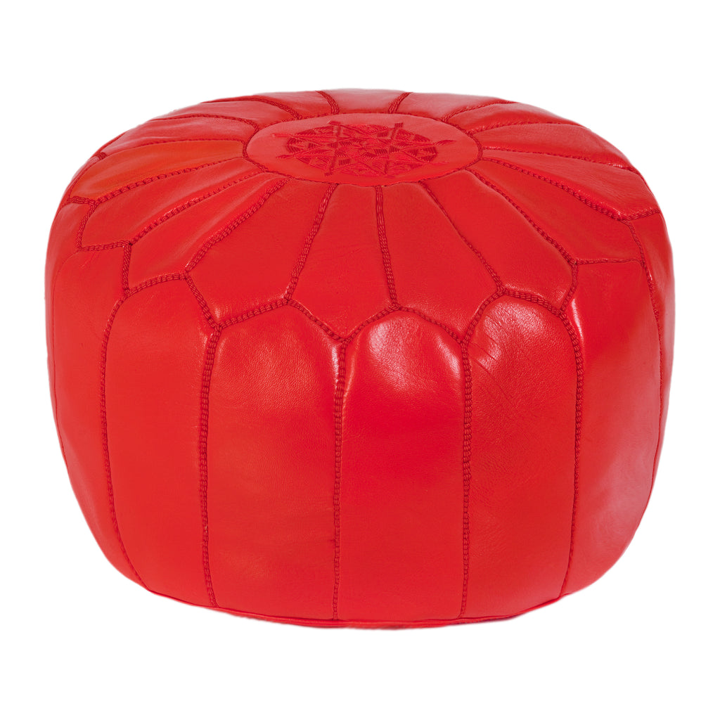 Embroidered Leather Pouf in Red