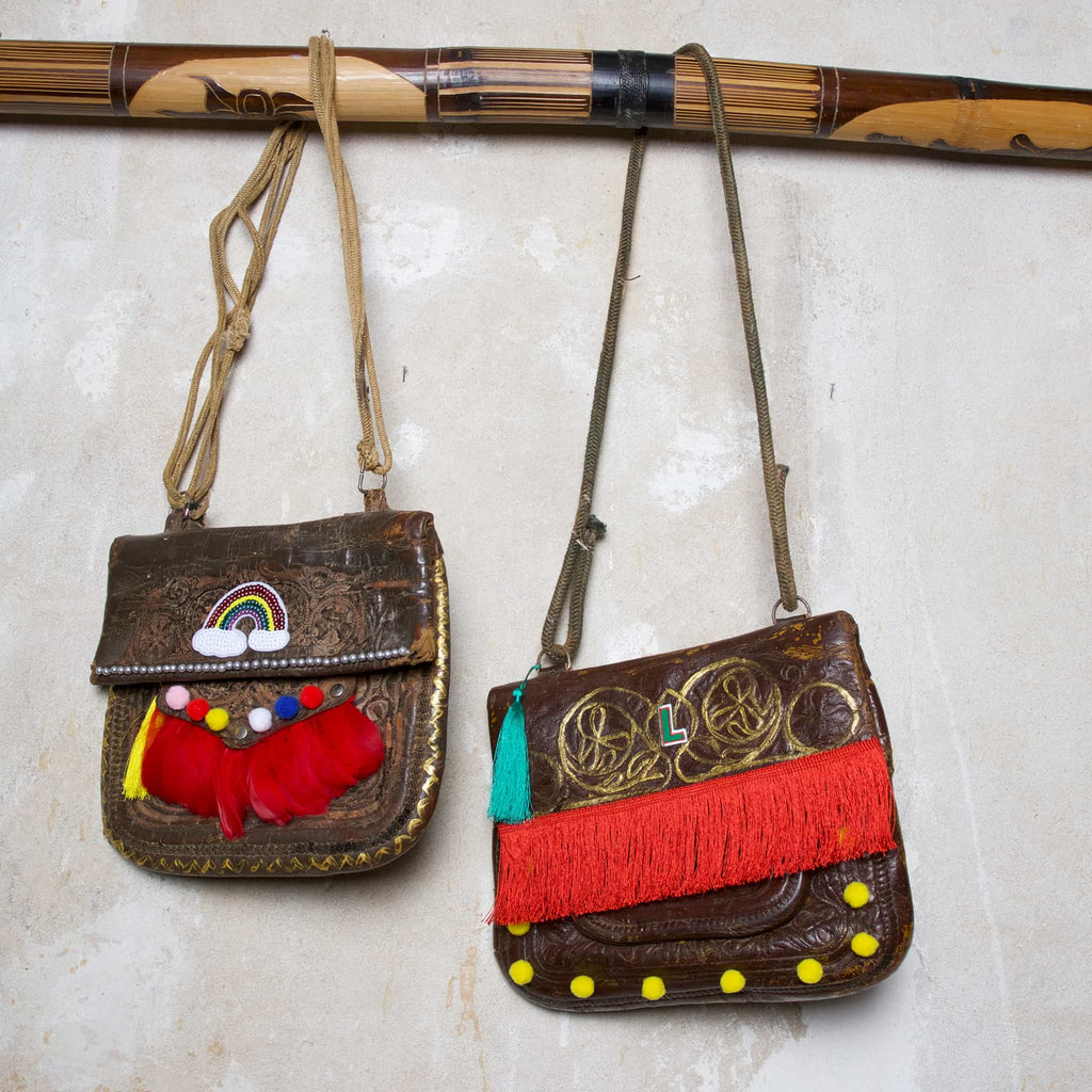 "Upcycled Vintage Leather Berber Bag ""Woodstock"" and ""Coachella"" by ABURY"