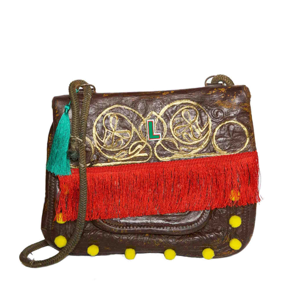 "Front view of Upcycled Vintage Leather Berber Bag ""Coachella"" by ABURY"
