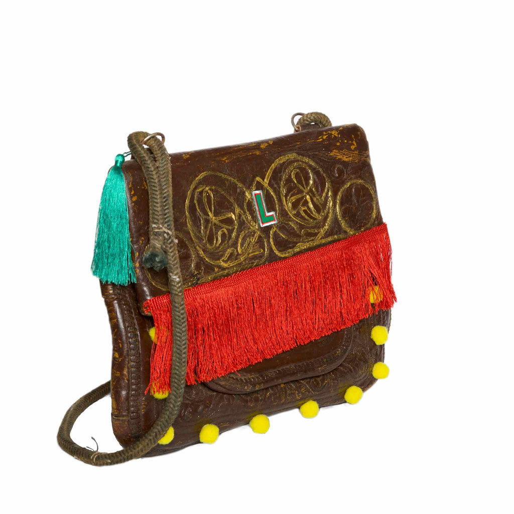 "Side view of Upcycled Vintage Leather Berber Bag ""Coachella"" by ABURY"