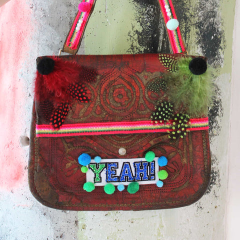 "Upcycled Vintage Leather Berber Bag ""Coachella"""