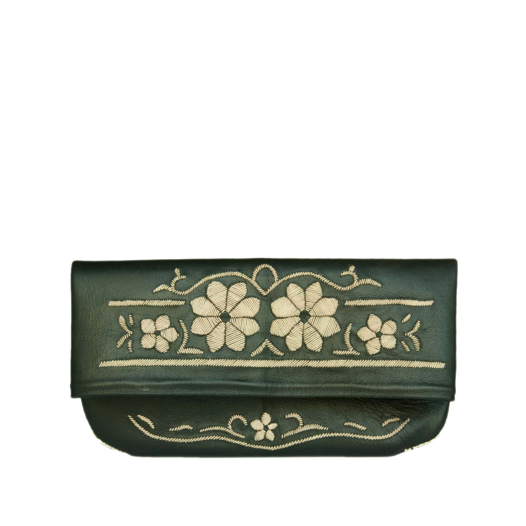 front view black and cream coloured floral abury leather clutch bag