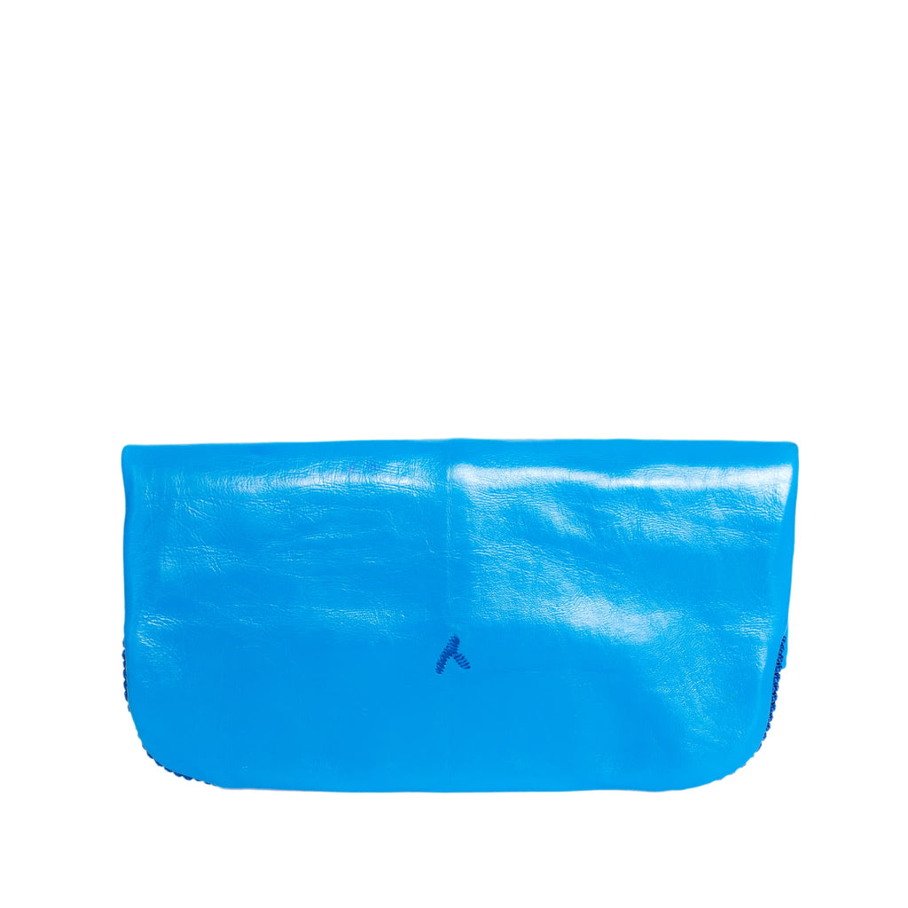 Blue Floral Leather Clutch Bag