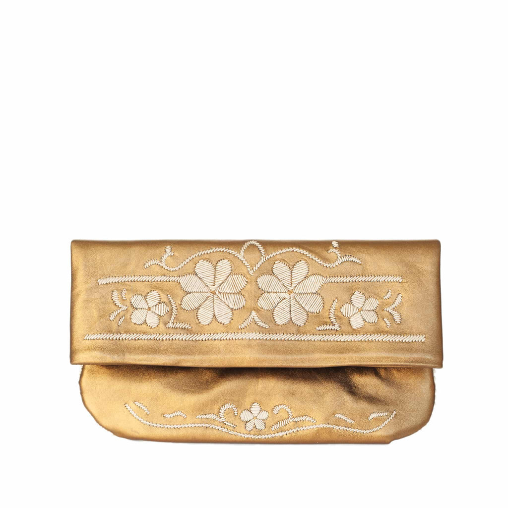 front view bronze and beige abury floral leather clutch bag