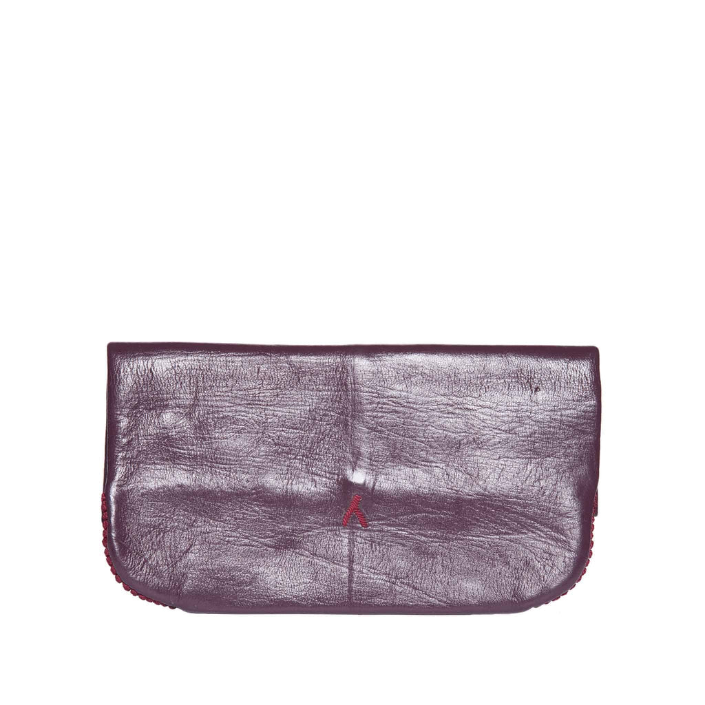 back view mauve and red abury floral leather clutch bag