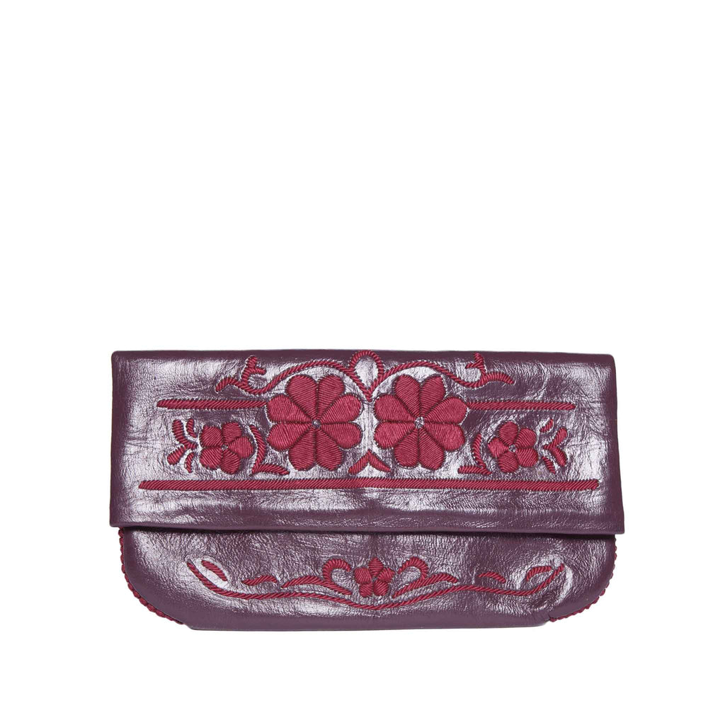 front view mauve and red abury floral leather clutch bag