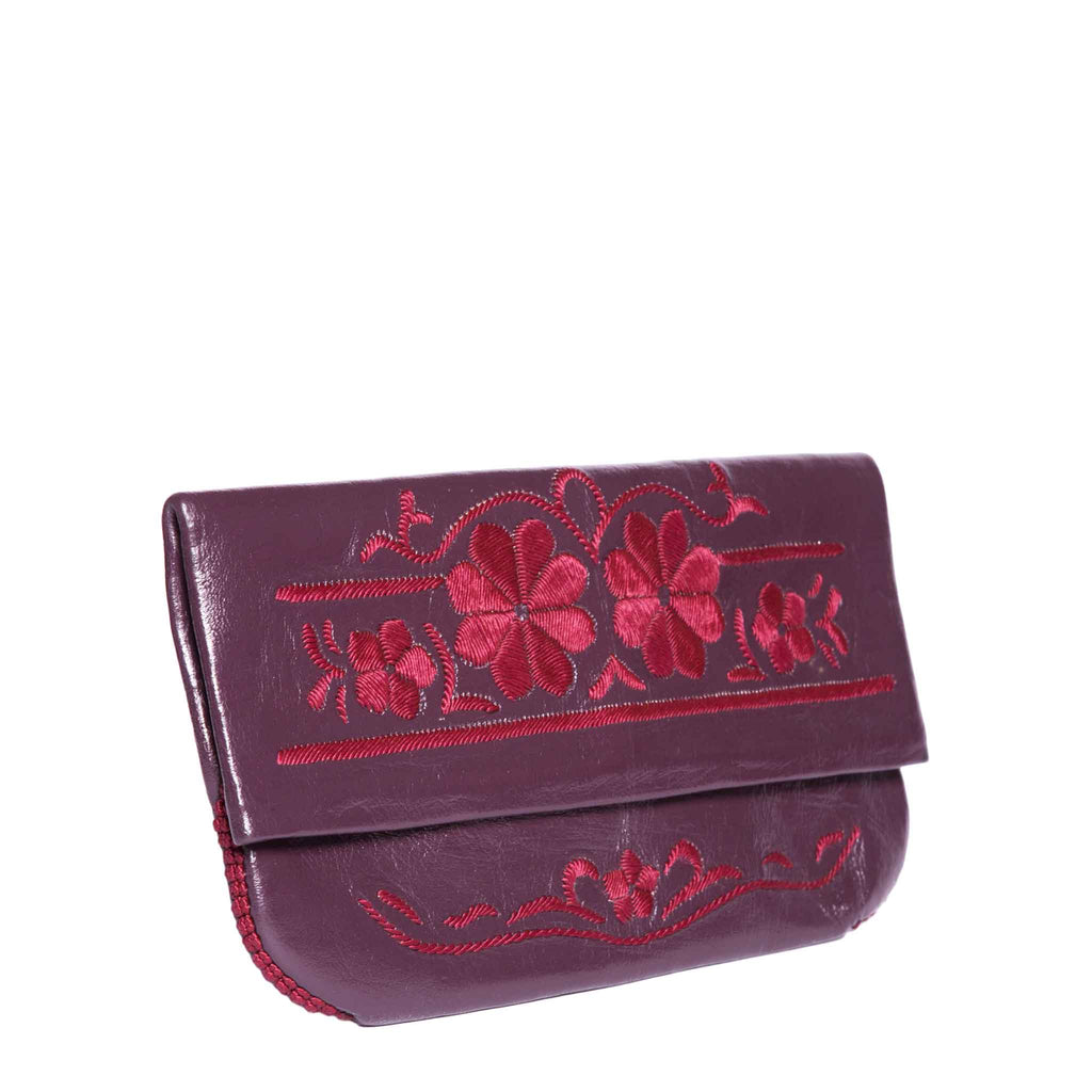side view mauve and red abury floral leather clutch bag