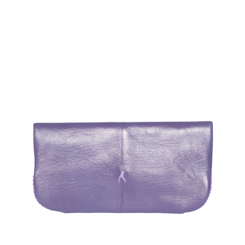 back side purple abury floral leather clutch bag