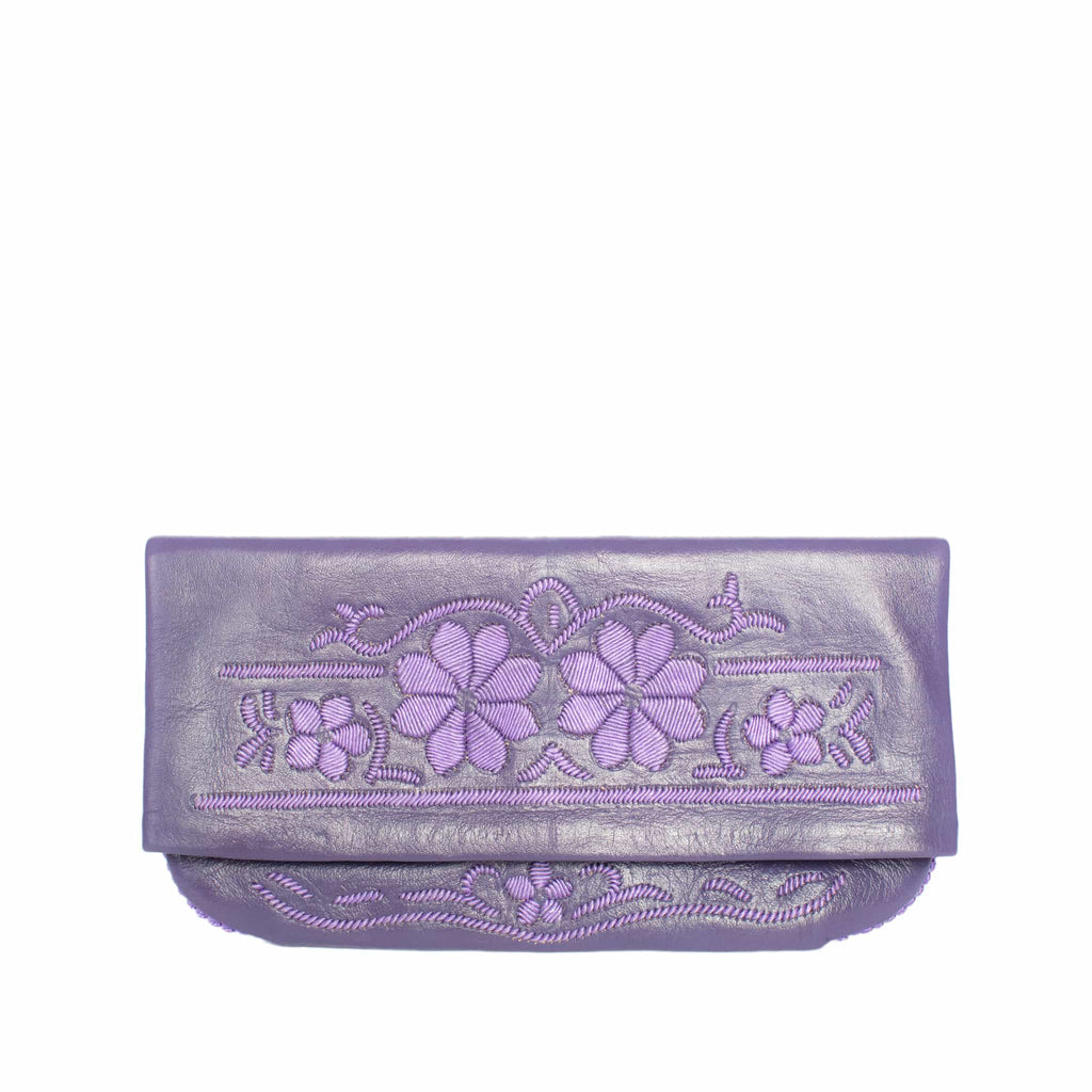front side purple abury floral leather clutch bag