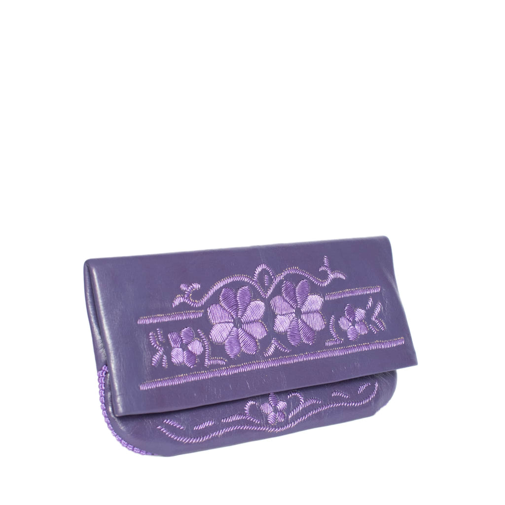 side purple abury floral leather clutch bag