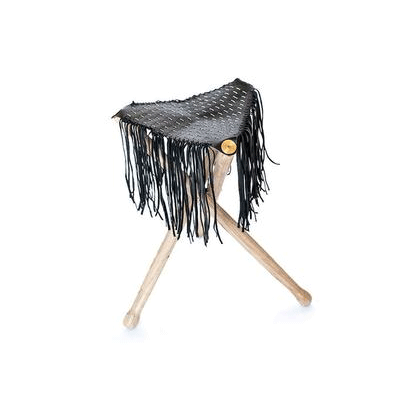 Fringed Black Embroidered Leather and Wood Stool