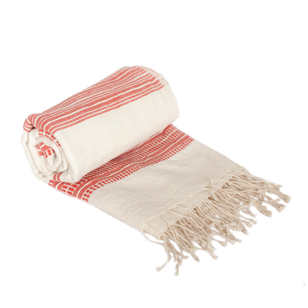 Cotton Beach Towel in White with Red Stripes handmade quality from Ethiopia