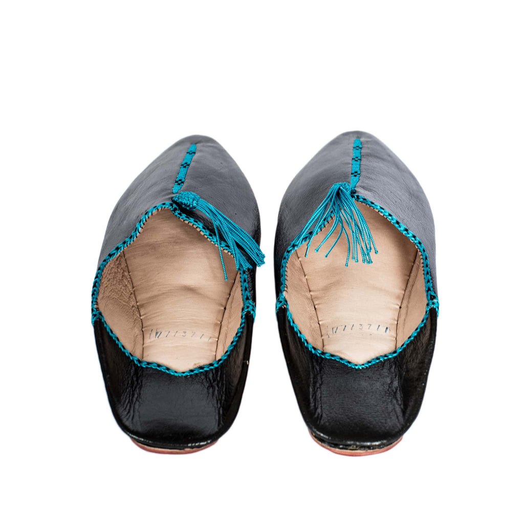 back view black and turquoise hard sole abury leather babouche leather slippers