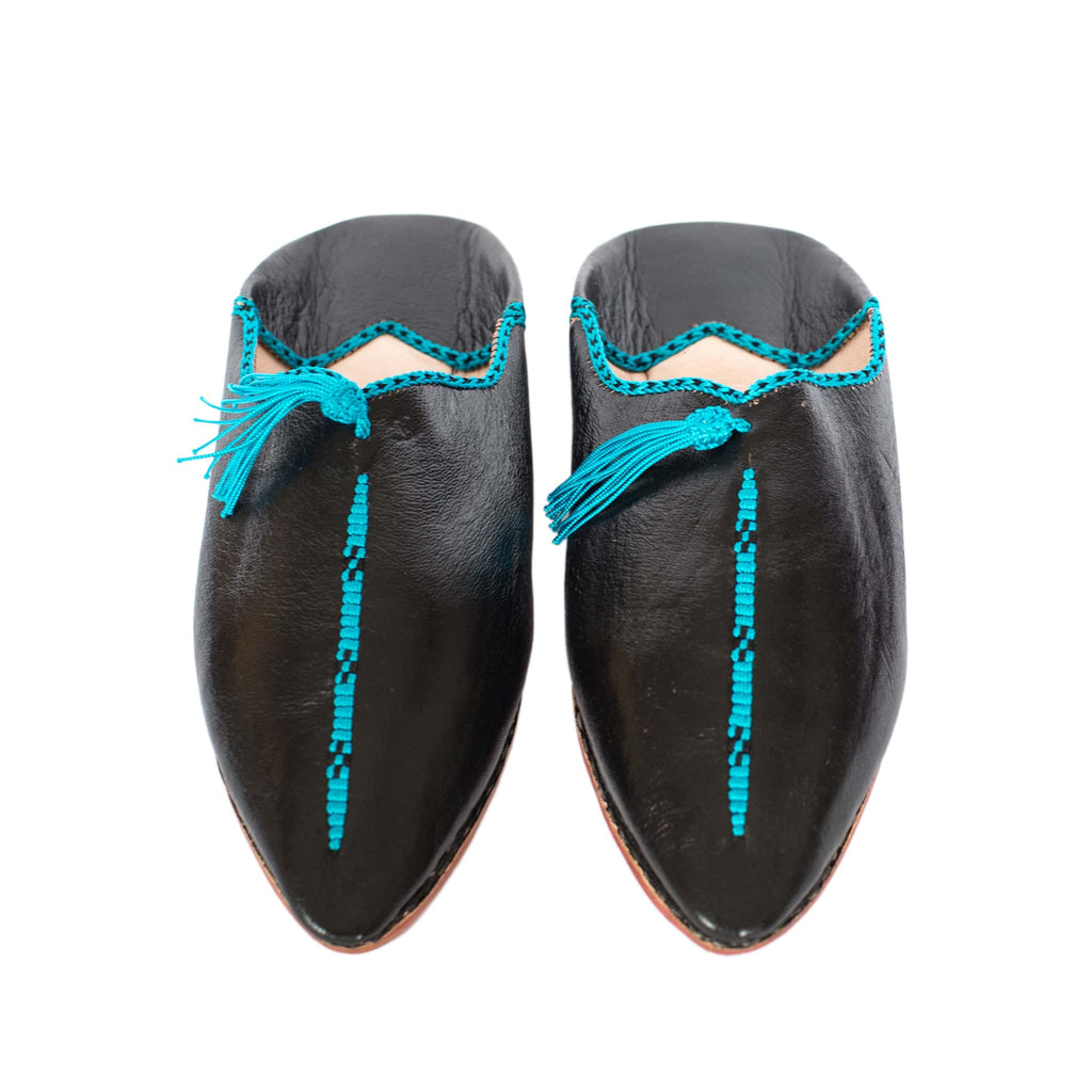 front view black and turquoise hard sole abury leather babouche leather slippers